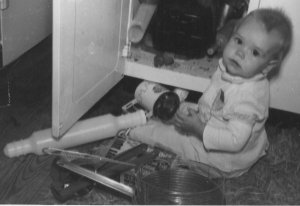 Ruth in the kitchen at an early age