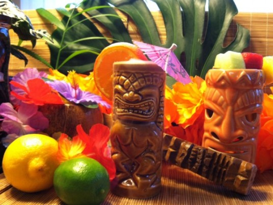 Tiki Culture at your table: fresh fruit, festive mugs, fun decor