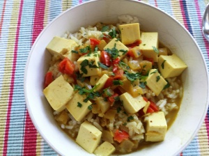 a bowl of vegan coconut curry soup